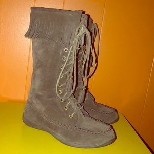 LL Bean Brown Suede & Sheepskin Moccasin Boots